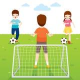 Padre, figlio e figlia giocare a calcio gioco insieme illustrazione di stock