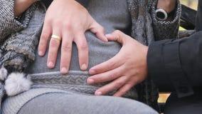 Padre futuro che abbraccia la pancia della donna incinta archivi video