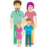 Padre, hija, madre e hijo felices de la familia libre illustration