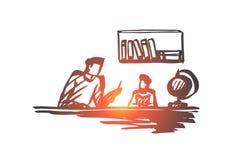 Padre, hijo, ayudando, concepto casero de la educación Vector aislado dibujado mano ilustración del vector
