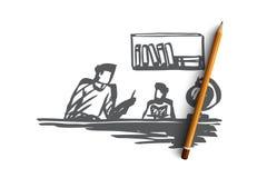 Padre, hijo, ayudando, concepto casero de la educación Vector aislado dibujado mano libre illustration
