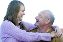 Padre invecchiato centrale e giovane figlia teenager della ragazza Fotografia Stock
