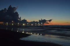 Padre Island beach lighted pier Corpus Christi, Texas Royalty Free Stock Image