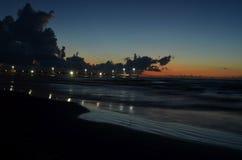 Padre Island beach lighted pier Corpus Christi, Texas Stock Image
