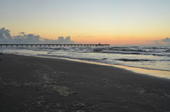 Padre Island beach lighted pier Corpus Christi, Texas Stock Photos