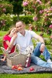 Padre joven hermoso que se sienta en una tela escocesa en un parque verde con su pequeña hija bonita con una cesta de mimbre para Fotos de archivo libres de regalías