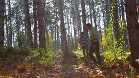 Padre joven And Son Walking en Autumn Forest almacen de video