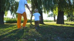 Padre joven y pequeño hijo que llevan a cabo las manos y que caminan a través de parque verde en el día de verano Familia feliz q almacen de video