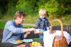 Padre joven y pequeño niño pequeño que meriendan en el campo en naturaleza, cerca de bosque y del lago en verano Niño y antropófa fotos de archivo libres de regalías