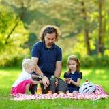 Padre joven y sus hijas que tienen una comida campestre Fotografía de archivo libre de regalías