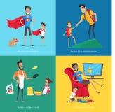 Padre lindo Spends Time con la colección de los niños stock de ilustración