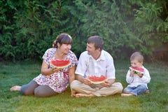 Padre, madre e figlio mangianti anguria che si siede sull'erba Immagini Stock