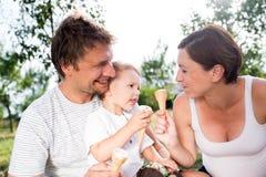 Padre, madre e figlio mangianti il gelato, estate soleggiata Fotografie Stock Libere da Diritti