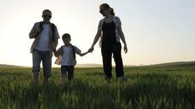Padre, madre e hijo caminando en el campo en el tiempo de la puesta del sol almacen de metraje de vídeo
