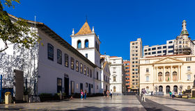 Padre Manuel da Nobrega Square in Sao Paulo, Brazil Royalty Free Stock Photo