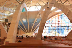 Padre Pio朝圣教会,意大利内部  图库摄影