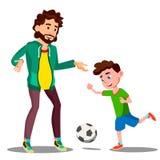 Padre Playing Football With il suo piccolo figlio sul vettore dell'erba Illustrazione isolata illustrazione vettoriale
