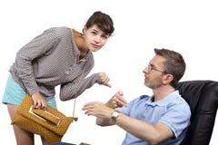Padre preoccupato e figlia recente Immagini Stock
