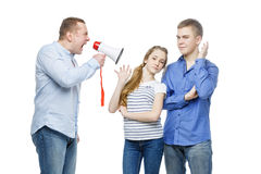 Padre que grita en los niños adolescentes Fotos de archivo libres de regalías