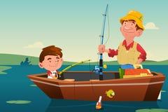 Padre Son Fishing Immagine Stock