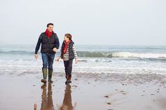 Padre And Son Walking en la playa del invierno foto de archivo
