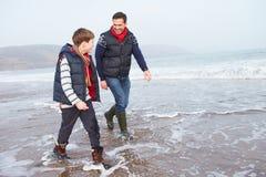 Padre And Son Walking en la playa del invierno fotografía de archivo