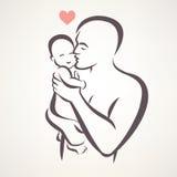 Padre y bebé ilustración del vector
