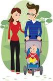 Padre y bebé de la madre en parque Stock de ilustración