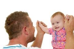 Padre y bebé sonrientes Fotografía de archivo