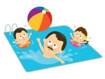 Padre y cabritos que juegan en una piscina (hispanico) Foto de archivo