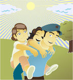 Padre y hijas stock de ilustración