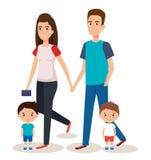 Padre y madre con los hijos Imagenes de archivo