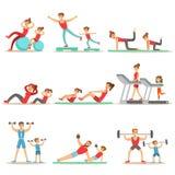 Padre y niño que hacen ejercicios juguetones y el deporte que entrenan juntas a tener serie de la diversión de escenas ilustración del vector
