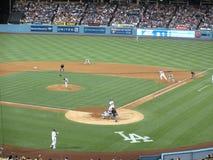 Padres投手投掷的克莱顿理查步对Dodger打击A 库存图片