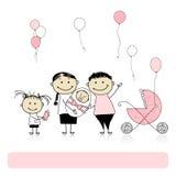 Padres con los niños, bebé recién nacido Fotografía de archivo libre de regalías