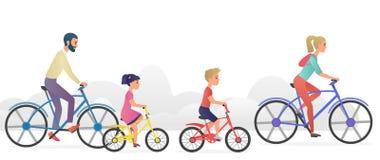Padres con los niños que montan el ejemplo del vector de las bicicletas stock de ilustración