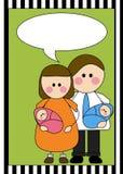 Padres con los recién nacidos gemelos Imagenes de archivo
