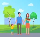 Padres de la familia con el niño en el ejemplo del vector del parque libre illustration