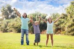 Padres felices con el hijo adolescente Fotos de archivo