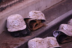 Padres hats in dugout Royalty Free Stock Photos