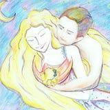 Padres jovenes felices que abrazan un peque?o ejemplo del beb? ilustración del vector