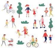 Padres jovenes que pasan tiempo con sus niños Actividades al aire libre Día de la familia Niñez feliz Sistema plano del vector stock de ilustración