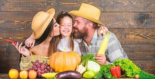 Padres y festival de la cosecha de la hija Concepto de la granja de la familia Granjeros de la familia con el fondo de madera de  imagen de archivo libre de regalías
