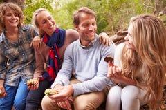 Padres y niños adolescentes que comen al aire libre en un bosque Imagenes de archivo