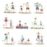 Padres y niños juntos que hacen deporte y la reconstrucción activa al aire libre Sistema del ejemplo del vector, aislado en blanc ilustración del vector