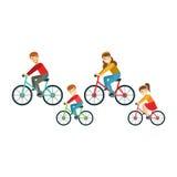 Padres y niños que montan las bicicletas en el parque, familia feliz que tiene buen tiempo juntas ilustración del vector
