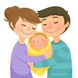 Padres y un bebé stock de ilustración