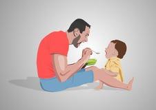 Padri che alimentano giorno di padri bambino Immagine Stock