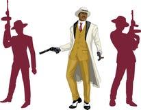 Padrino afroamericano del mafioso con el equipo Imagen de archivo