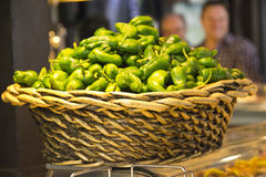 Padron peppers basket - Mercado de San Miguel, Madrid Stock Image